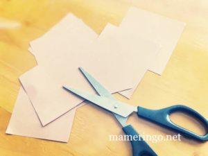 折り紙をカット